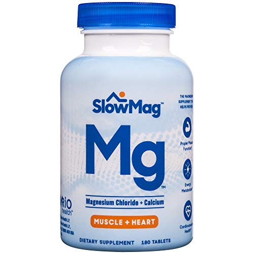 Slow-Mag Mg Muscle + Heart Magnesium Chloride with Calcium Supplement, 180Count