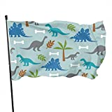 Oaqueen Flagge/Fahne Cute Dinosaur Dino Official Flags Durable Heavyweight House Flag Machine Washable Fade Resistant Outdoor Banner with Grommets Decorative Flags Sports 2020-3X5 Ft