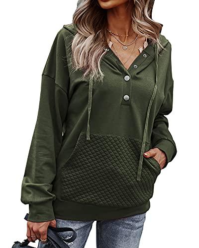 BTFBM Damen-Sweatshirt, lässig, mit Knopfleiste, langärmelig, modisch, gestepptes Muster, mit Kordelzug, Knöpfe Armeegrün, Mittel