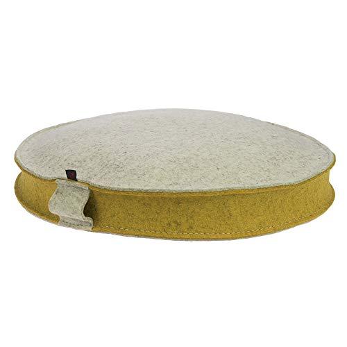 ebos Yogakissen aus 100% Merino-Wollfilz mit Bio-Dinkelspelz-Füllung, rund, Sitzhöhe 10 cm, Durchmesser 40 cm, handgearbeitet Made in Germany (beige/senfgelb)