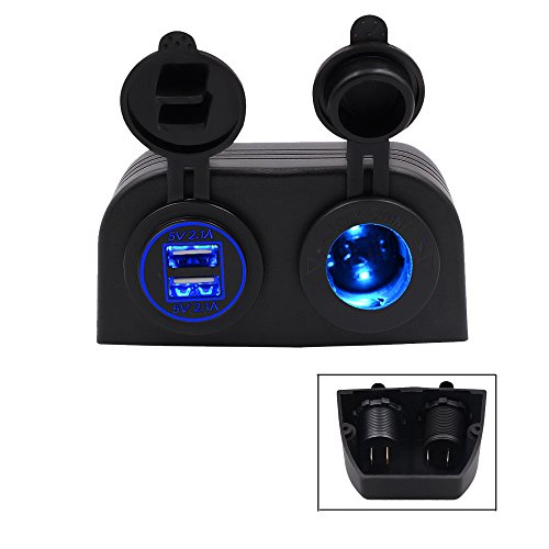 TurnRaise Motos 4.2a Dual USB cargador de coche + 12V/24V encendedor toma dos agujero tienda tipo Panel para barco ATV Marina RV