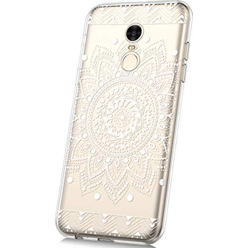 JAWSEU Funda Compatible con Xiaomi Redmi Note 4/Note 4X Transparente Suave TPU Silicona Gel Funda con Dibujos Animados Diseño Ultra-Delgado Anti-arañazos Resistente Protectora Carcasa,Mandala Blanco