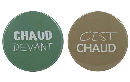 TheKitchenette 6317153 Dessous de Plat Rond décoré C'est Chaud Devant, Melamine, Bleu-Taupe, 20 x 20 x 19,9 (cm)