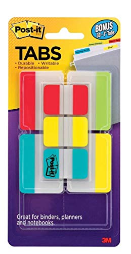 Post-it Tabs Value Pack, Assorted Primary Colors, Durable, Writable, Repositionable, Sticks Securely, Removes Cleanly, 1 in. and 2 in. Sizes, 114 Tabs/Pack, (686-VAD2)