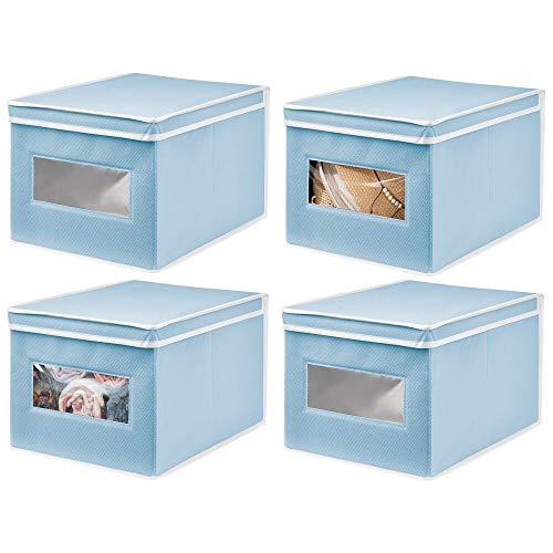 mDesign Set da 4 Organizer Armadio con Coperchio e Finestra – Capiente Contenitore portaoggetti – Scatola per armadi impilabile per Camera, Bagno, Soggiorno – Azzurro/Bianco