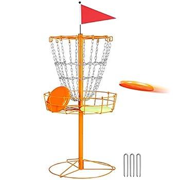 Yaheetech Portable Disc Golf Basket Practice Target Steel Hole Heavy Duty Disc Golf Goals Catcher Orange