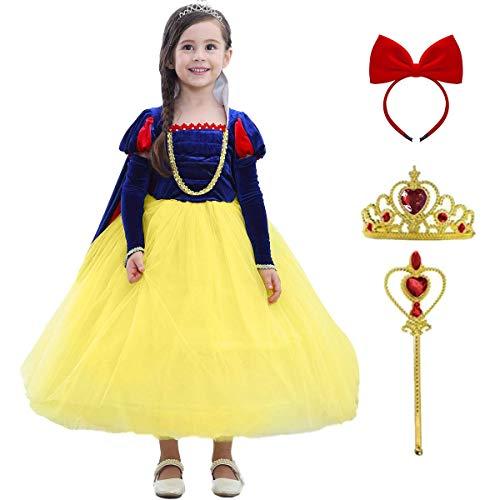 Blancanieves Disfraz Niña Vestidos de Princesa con Capa Corona Varita mágica Set de 6 Piezas Disfraces de Halloween Carnaval Navidad Fiesta Ceremonia Baile Vestido de Cumpleaños para 3-8 Años