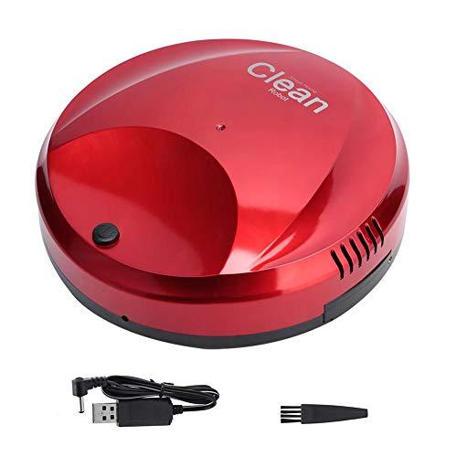 Cafopgrill Robot Aspirador, USB Recargable, Limpieza Inteligente Automática de Pisos Robot Aspirador Aspiradora Limpiando el Suelo de la Máquina Barredora(Rojo)