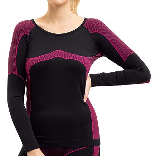 Gomati Damen Thermo Unterhemd Seamless Funktionswäsche schnelltrocknend - Pink L-XL
