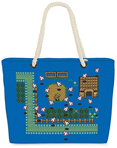 VOID Bolso de Playa XXL Bolsa Shopper Link Retro Juego 58 x 38 x 16cm 23l Beach Bag Game Hyrule Pixel Game, Kissen Farbe:Azul
