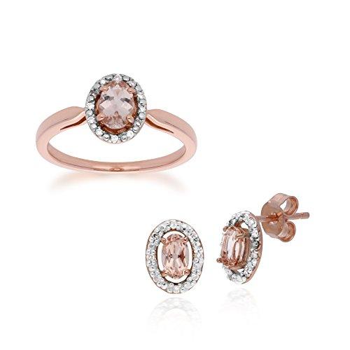 Gemondo - Set di orecchini e anello in oro rosa 9 kt, con morganite e diamante ovale 0,44 ct e Oro rosa, 52 (16.6), colore: Morganite, cod. 135E1451019-135R1589019_L