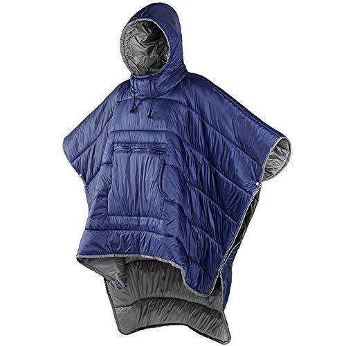 Winter-Poncho mit Kapuze, tragbar, winddicht, wasserabweisend, für kaltes Wetter im Freien Gr. L, blau
