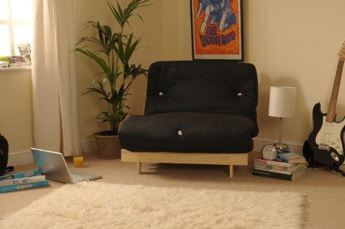 Comfy Living 3ft (90cm) Single Wooden Futon with BLACK Mattress