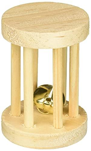 TRIXIE Cilindro Madera con Cascabel para Roedores, ø5 x 7 cm, Pequeños Mamíferos
