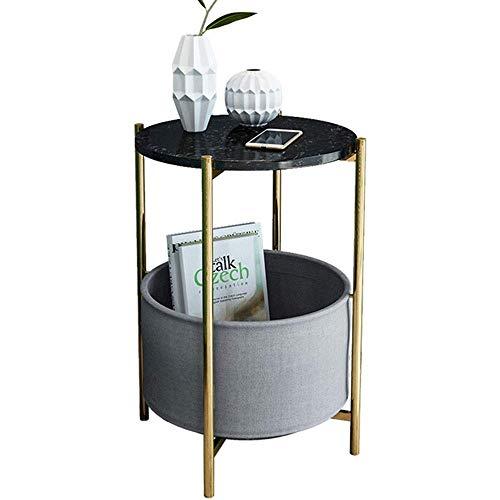 Home&Selected Nestjeshoekje, modern, marmer, sofa, bijzettafel, woonkamer, tafel, rond, mini-nachtkastje met opbergtas, 17,7 x 23,6 inch (kleur: zwart) Zwart