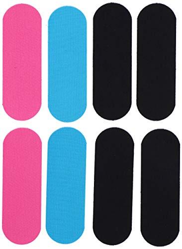 Kinesiotape für das Knie oder das Handgelenk | Elastisches Tape für uneingeschränkte Bewegungsfreiheit | 8 vorgeschnittene Streifen | Schwarz Pink Blau | 15 x 5 cm