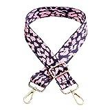 TENDYCOCO tracolla con stampa leopardata sostituzione cinturino bagaglio regolabile colore contrasto-rosa ganci dorati