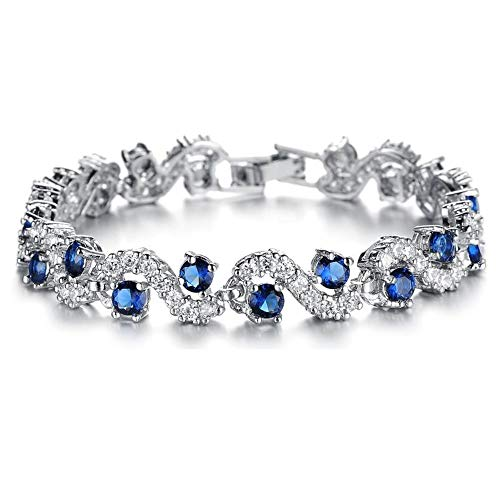 Feraco Blue Tennis Bracelet Women Cubic Zirconia Sapphire Jewelry Bridal Crystal Bangle for Mom and Daughter,6.69 inch