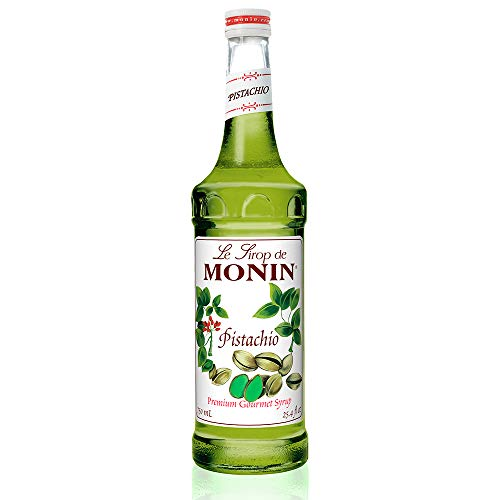 Monin - Pistachio Syrup, Rich and Roasted Pistachio Flavor, Great for Lattes, Mochas, and Dessert Cocktails, Non-GMO, Gluten-Free (750 ml)