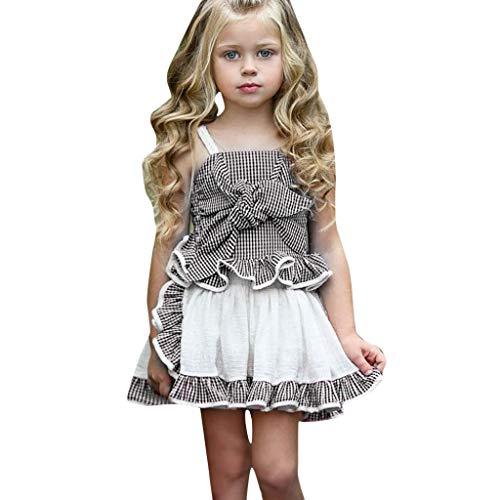 Longra Bambin baby meisjeskleed, bedrukt, vest, mouwloos, tops, kant, bowknot top + korte rok, casual, prinses, jurk, outfits