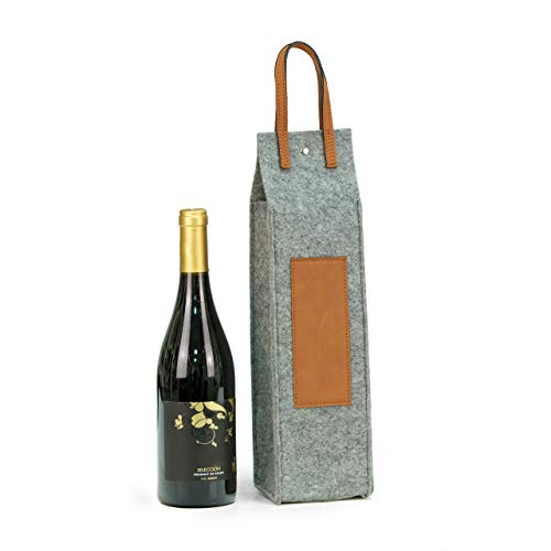 Bey-Berk Wine Caddy with Grey Felt and Brown Triming