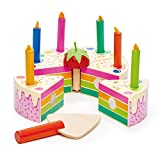 Tender Leaf Toys - Pretend Play Food Birthday Cake - Develops Social Skills and Imaginative Play for Children 3+ (Rainbow Birthday Cake)