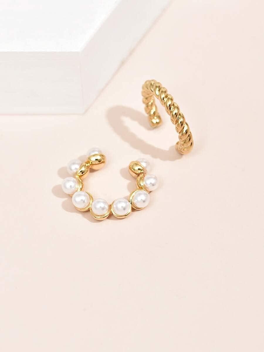 JYMBK Hoop Earrings 2pcs Faux Pearl Decor Ear Cuff (Color : Gold)
