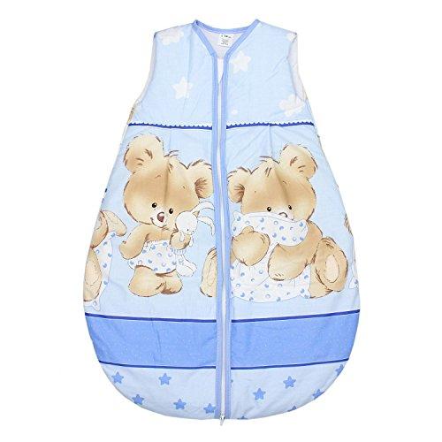 TupTam Baby Unisex Schlafsack Ärmellos Wattiert, Farbe: Bärchen Blau, Größe: 104-110