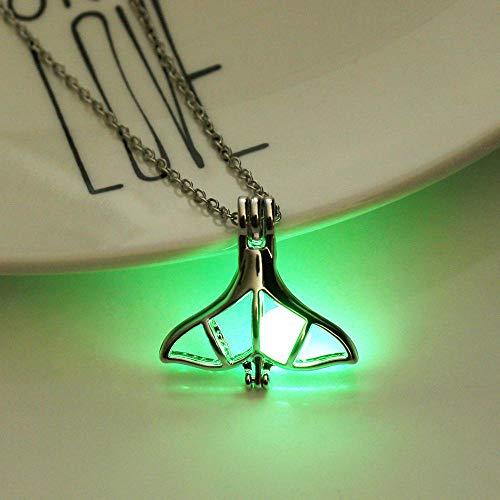 Anoauit Creative Fashion Luminoso Colgante Hueco Collar Largo Cadena Resplandor en los Collares Oscuros Joyas de Forma de ala Que Brilla intensamente para Las Mujeres Amarillo Verde