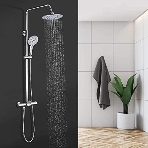 NHO Duschsystem mit Thermostat Runde Duscharmatur Chrom Regendusche mit Kopfbrause Handbrause und Wasserfall Wannenthermostat verstellbare Duschstange Edelstahl Duschsäule für Badzimmer Badewanne