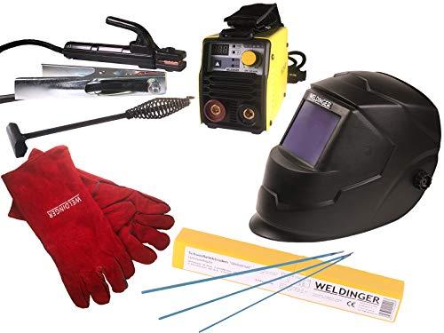 Aktionsset WELDINGER EW 140 mini MMA-/WIG-Schweißinverter Automatikhelm Elektrodensortiment Schlackehammer Handschuhe 5 Jahre Garantie