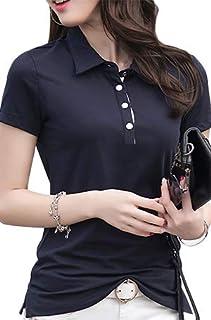 ASHERANGEL ポロシャツ レディース 半袖 シャツ トップス カジュアル ファッション スポーツ 夏 春 無地 綿 ボタン