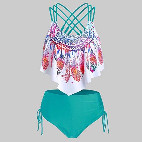 Women Two Pieces Bathing Suits - Bohemian Print Cinched Padded Tankini Set, Feather Printed Push-Up Padded Crisscross Bikini, Feather Printed High Waisted Asymmetrical Tankini Swimwear (Green, XXL)