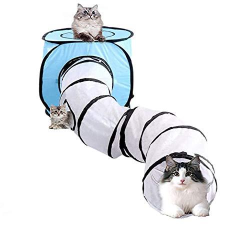 Wuudi Katzentunnel Röhre und Zelt, Faltbares kreative katzenröhre Katzenzelt, Katzenwürfel Pop Up Indoor Outdoor Spielzeug für Katze/Welpe/Kaninchen