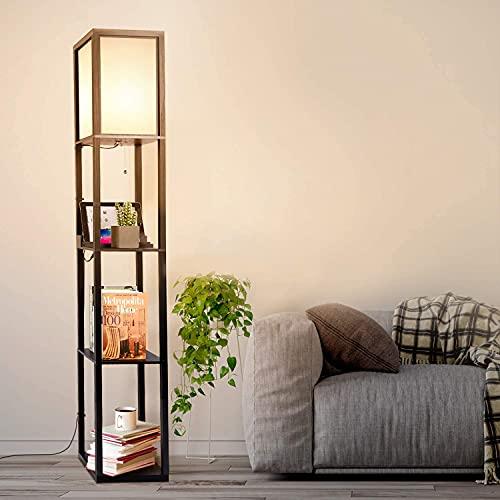 Albrillo Lámpara de pie de madera, E27 con 2 puertos de carga USB, bombilla de máx. 60 W y clip de alambre, lámpara de pie retro de 160 cm, cada estante, madera negra, para salón o dormitorio