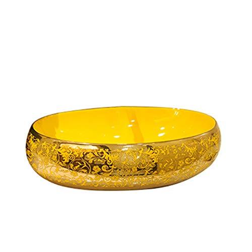 YRRA Above Counter Bathroom Vanity Bowl, Home Oval Bathroom Sink Ceramic Modern Pop Up Drain Without Overflow for Bathroom Lavatory Vanity Cabinet, Gold,Single Basin