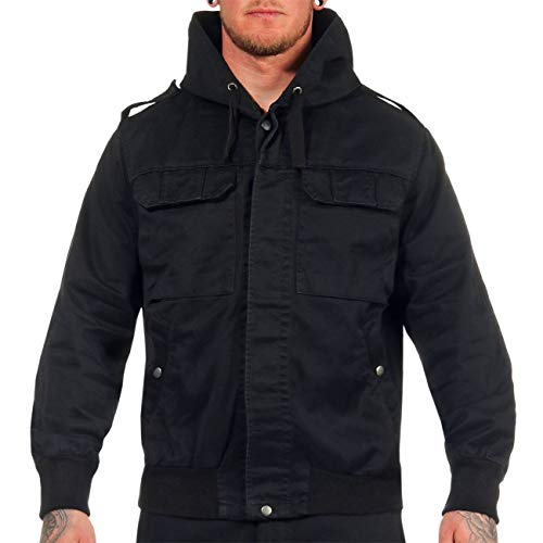 Spaß kostet Feldjacke mit Kapuze schwarz Grösse M bis 7XL Armee Übergangsjacke