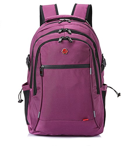 QMMCK Laptop Backpacks Male Female Commerce Casual 14 15 inch Anti-Theft USB Charging Outdoor Multi-Functional Travel Computer Backpack, Purple
