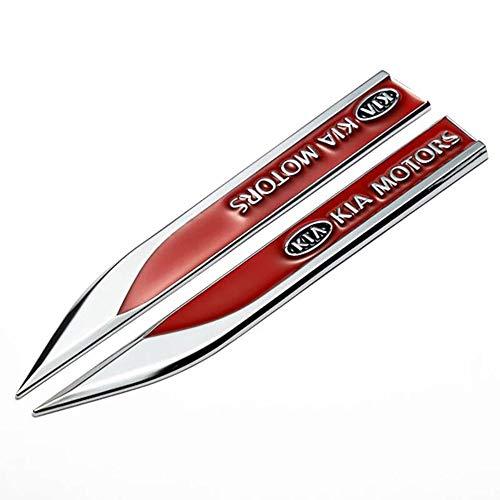 Wallner 2pcs Metall 3D umgestaltet Fahrzeug Auto Designs Emblem Abzeichen Aufkleber Auto Tür Fender Side Aufkleber Für KIA (schwarz)