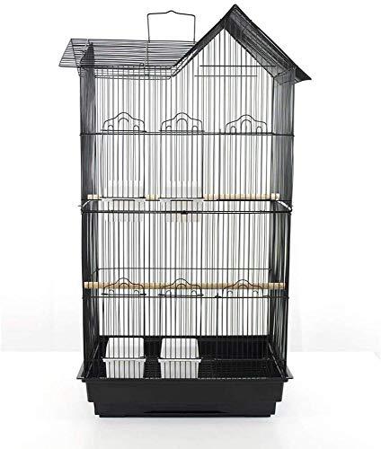 Pet's Solution Gabbia voliera per Uccelli pappagalli inseparabili cocorite calopsite parrocchetti (Nera)