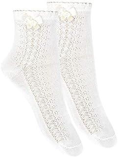 Calcetines tobilleros con calado lateral y lazo Blanco, Talla 8 (32-35)