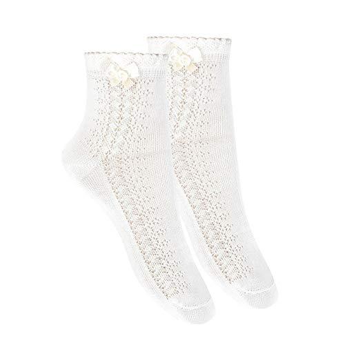 Cóndor Calcetines tobilleros con calado lateral y lazo Blanco, Talla 6 (27-31)