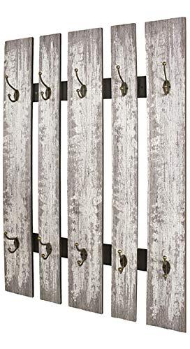 Haku Möbel Wandgarderobe - MDF Dekor grau - 10 Haken Höhe 100 cm