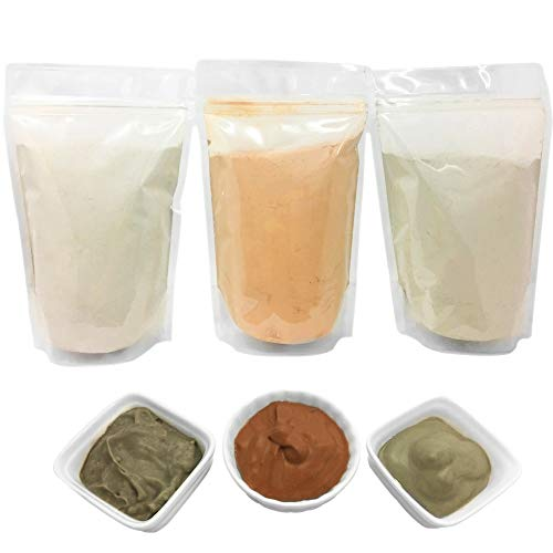 Bentonite (Indian Healing), Moroccan (Red-Rhassoul), and European (French-Green) Clay Powder - 3 multipak/set for making mud treatments for skin, hair, face - by HalalEveryday