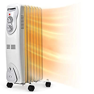 Tangkula 1500W Oil Filled Radiator Heater, Portable Space Heater Radiator with 3 Heat Settings, Adjustable Thermostat, Overheat Protection and Tip-Over Protection, Electric Oil Heater for Indoor Use