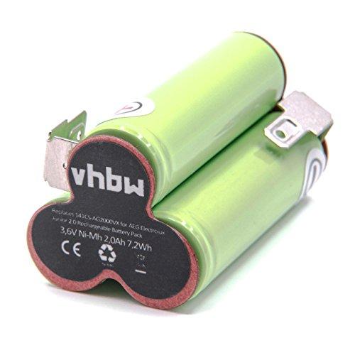 vhbw NiMH Akku 2000mAh (3.6V) passend für Staubsauger Home Cleaner Heimroboter AEG/Elektrolux Junior 2.0