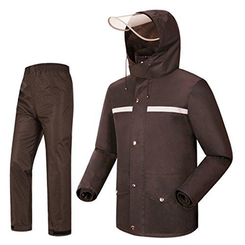 Dongyd Regenpak voor Mannen Regenjas en Regenbroek Set Volwassenen Hooded Outdoor Werk Motorfiets Golf Vissen Bruin