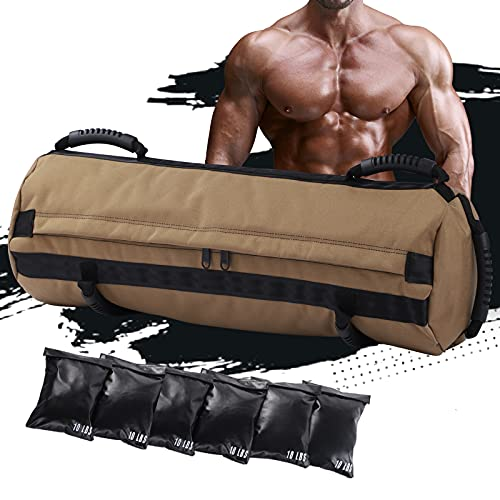 Sandbag Workout Bag, Heavy-Duty Workout Sandbags with Handles, Adjustable Sand Bags Weights10-60lb Perfect for Fitness, Home Gym, Crossfit.