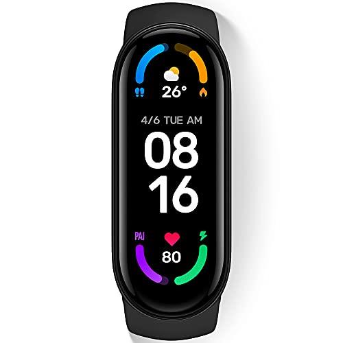 StarQ Xiaomi Mi Smart Band 6 スマートバンド グローバル版 歩数計 カロリー計 30種類のスポートモード対応 1.56インチAMOLEDディスプレイ 24時間心拍数モニタリング 睡眠モニタリング 5ATM防水 最長14日間連続使用 磁気充電 LINE通知 着信通知 シャオミ スマートウォッチ ブラック