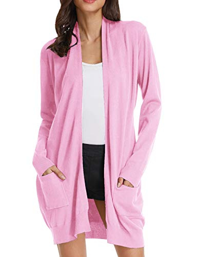 GRACE KARIN Solid Open Front Long Knited Cardigan Sweater for Women(S,Baby Pink)